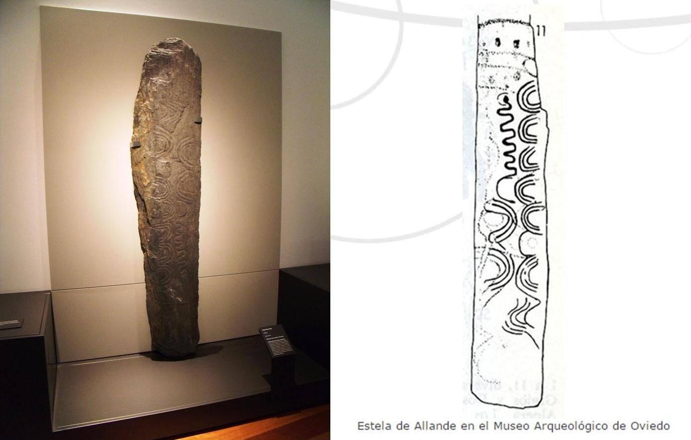 La estela de Allande y su paralelismo con el posible calendario lunar de Knowth, Irlanda