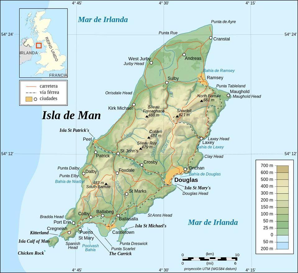 Mapa de la isla de Man. Wiki commons
