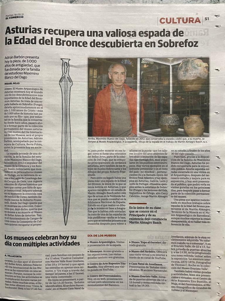La espada de Sobrefoz. Una auténtica joya de la Edad del Bronce que llega al Museo Arqueológico de Asturias